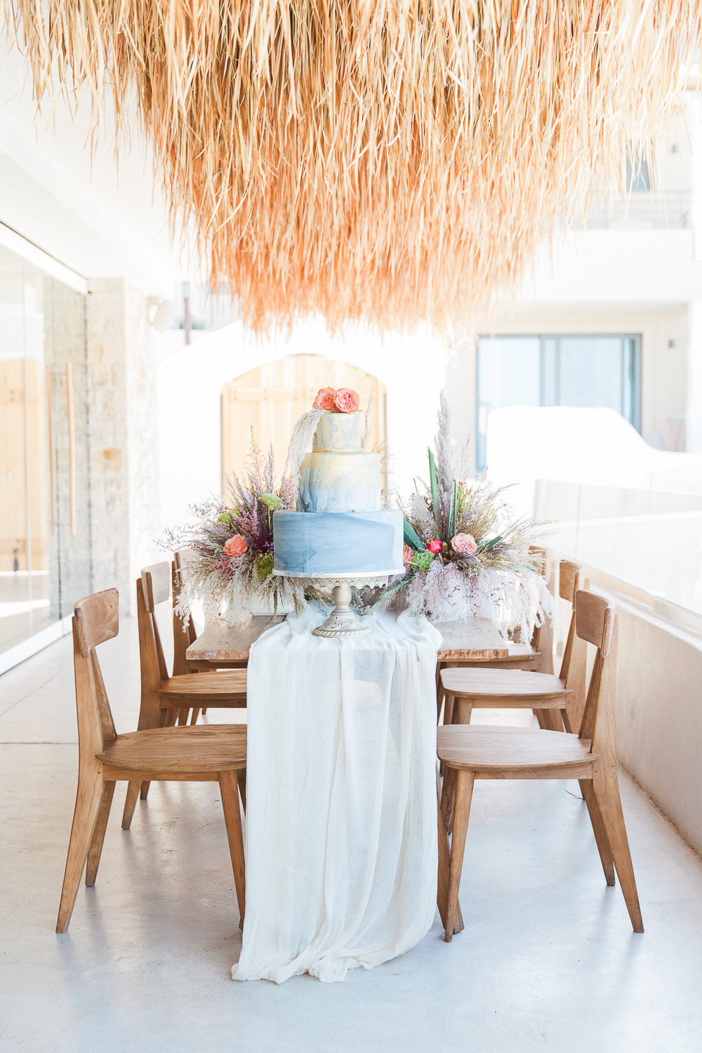 Wedding cake table at Crystal Waters Lefkada in Greece
