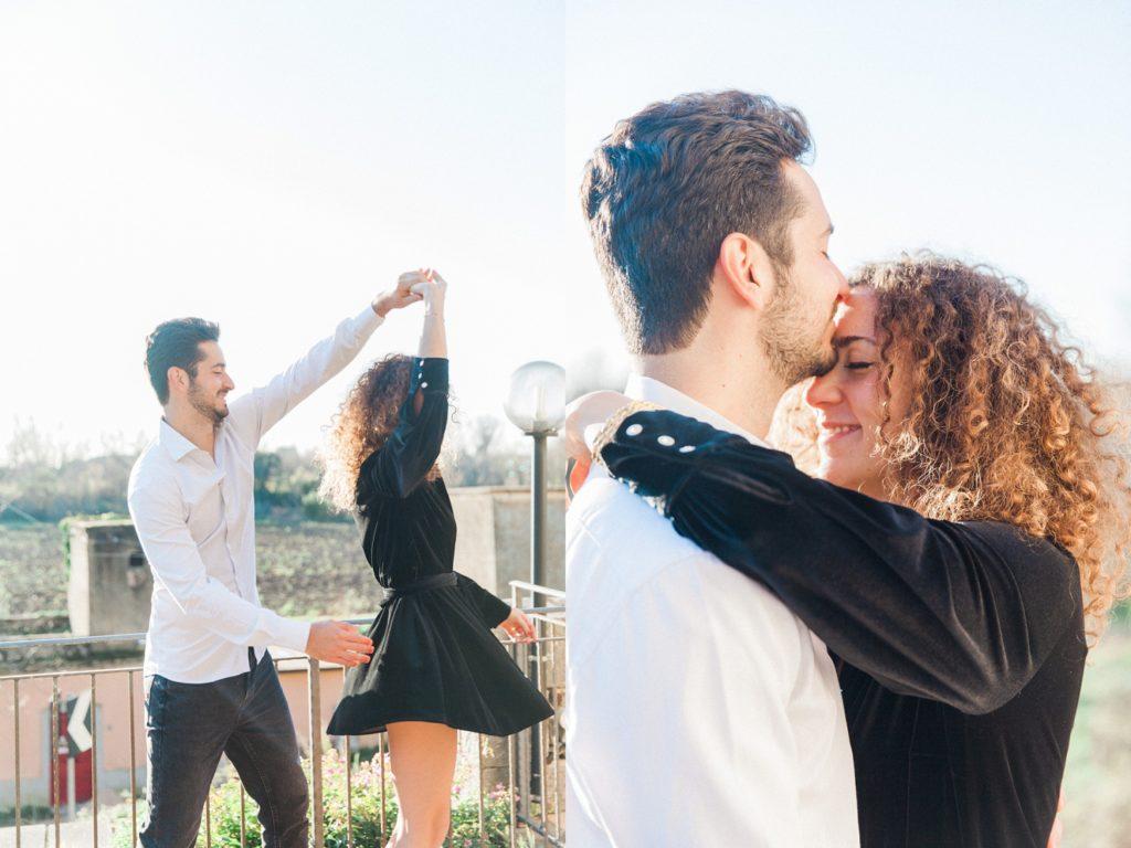 Couple dance in the sunshine near Sermoneta in Italy