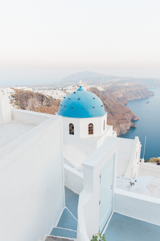 Blue and white Greek church in Imerovigli Santorini