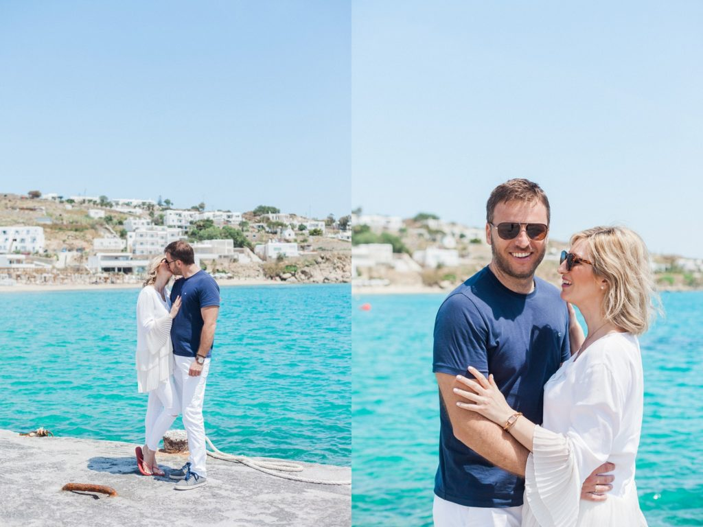 Portraits of a couple near the sea at Platis Yialos beach on Mykonos