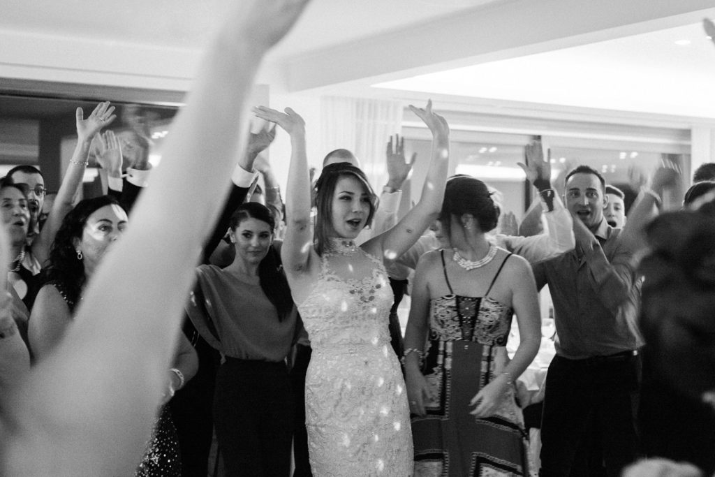 Wedding guests dance during a reception in Abruzzo