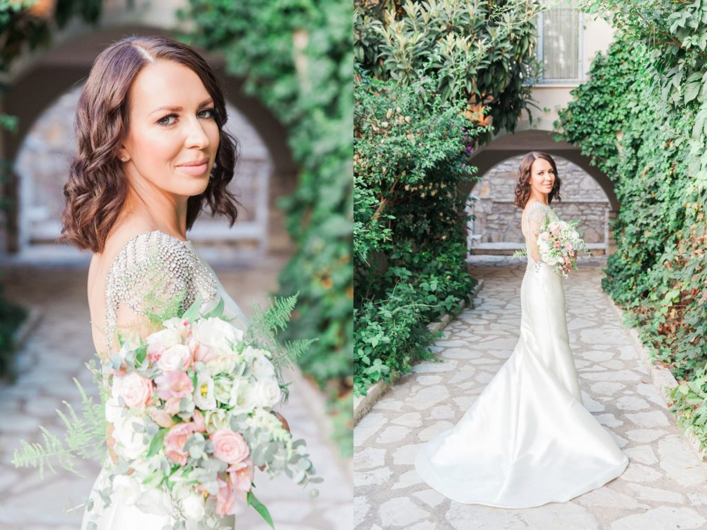Portraits of a bride in a Rosa Clara wedding gown with sparkling capped sleeves