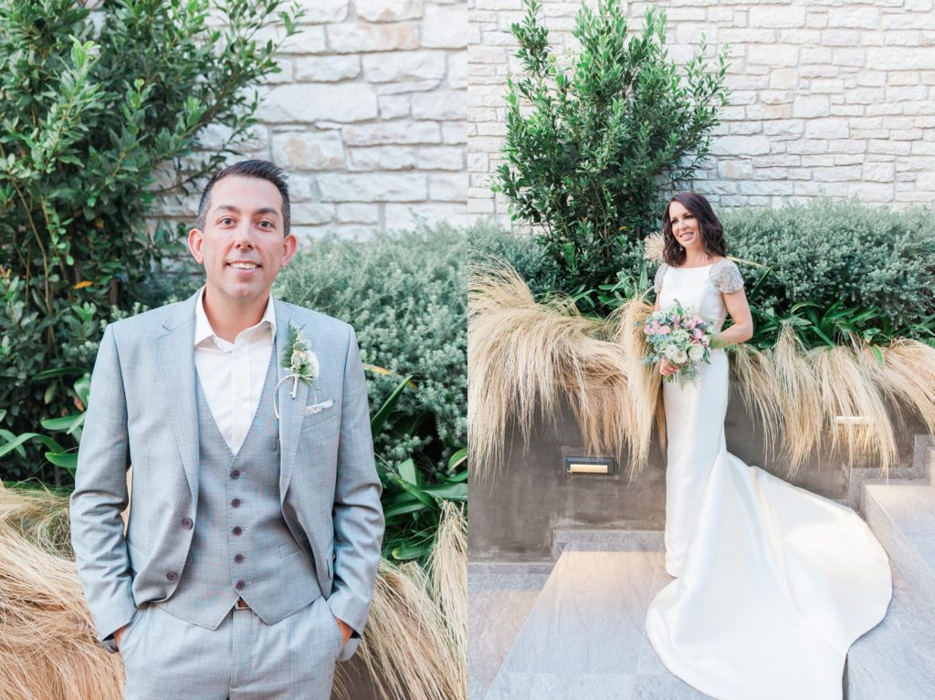 Portrait of a groom in a Ted Baker suit and a bride in a Rosa Clara gown in Sivota