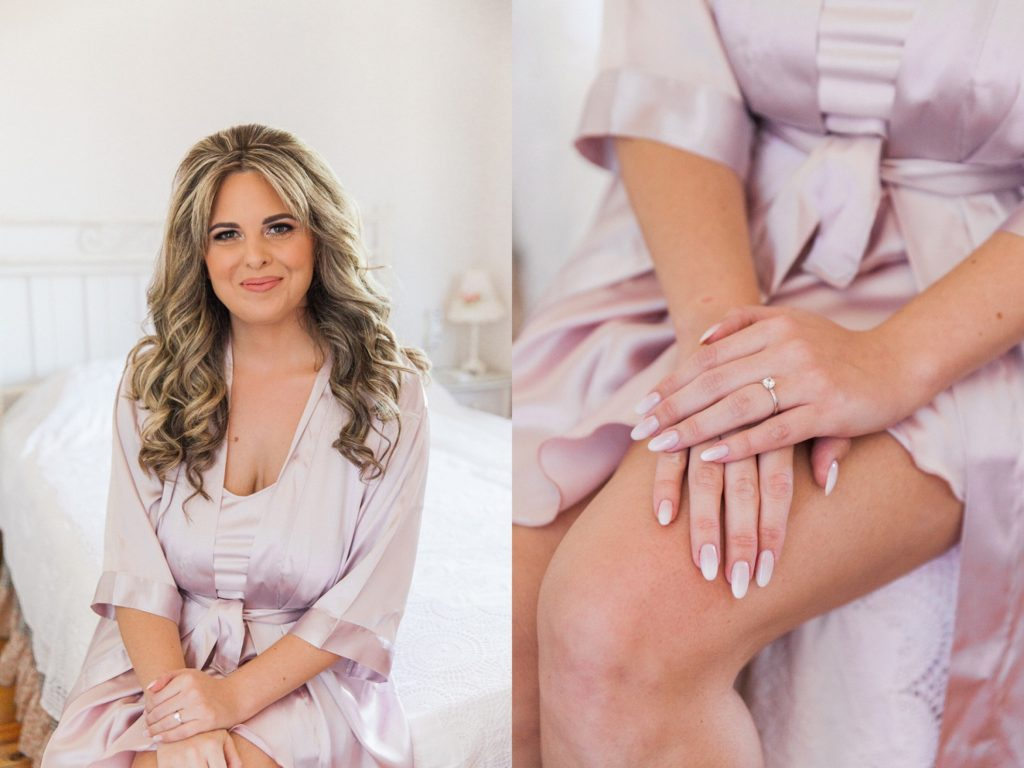 Bride in a soft purple robe and her engagmenet ring on the morning of her Santa Maura Castle wedding in Lefkada