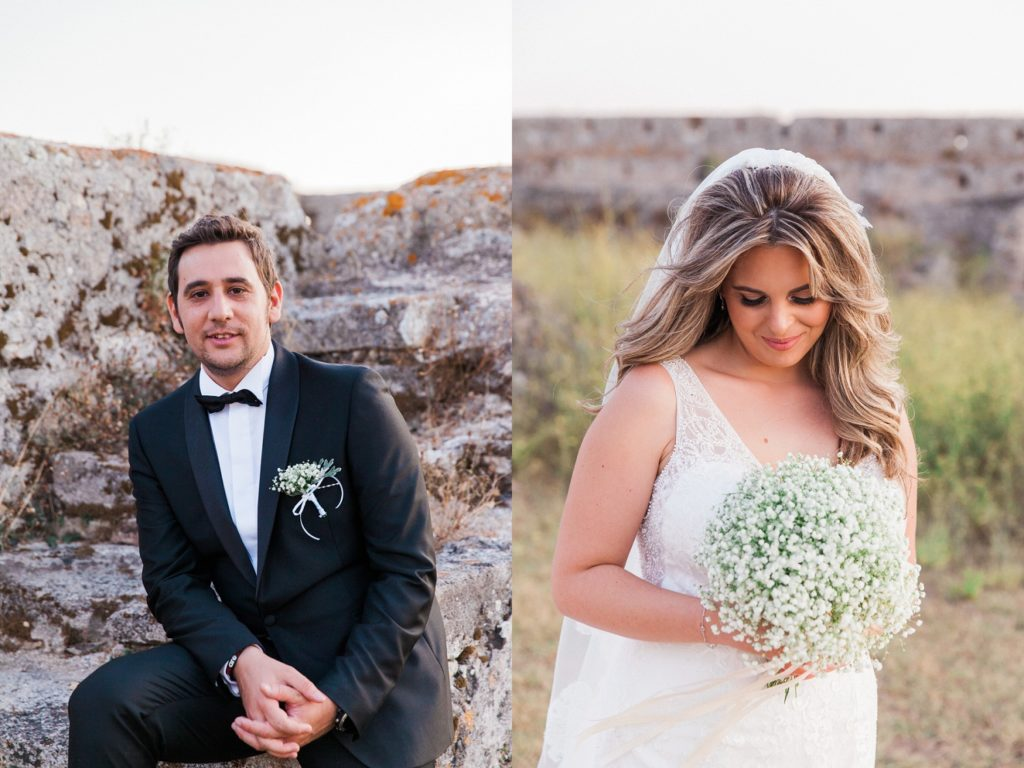 Portraits of the bride and groom in the grounds of Santa Maura Castle