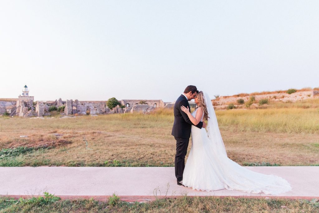 Couple embrace in the grounds of Santa Maura Castle in Lefkada
