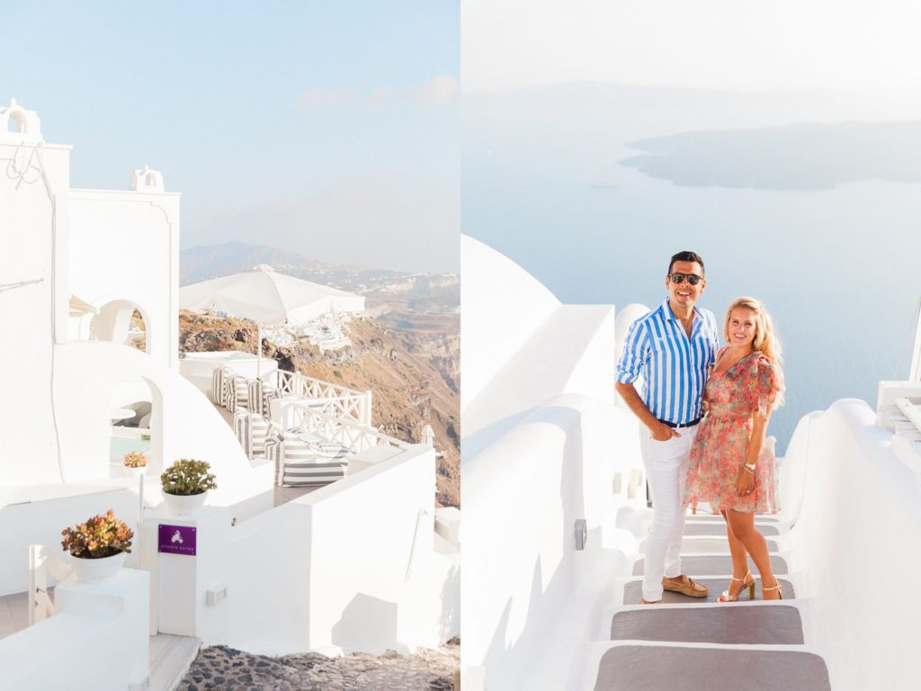 Balcony with a white umbrella and a couple on a staircase during their Santorini honeymoon photography session