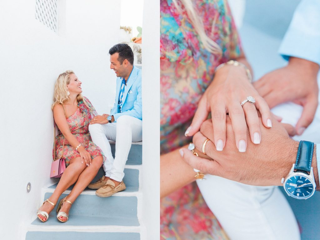 Happy couple sit together on steps in Santorini and a detail image showing the brides ring
