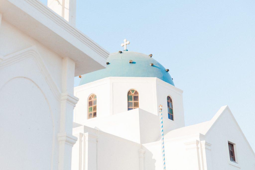 Iconic blue and white Santorini church