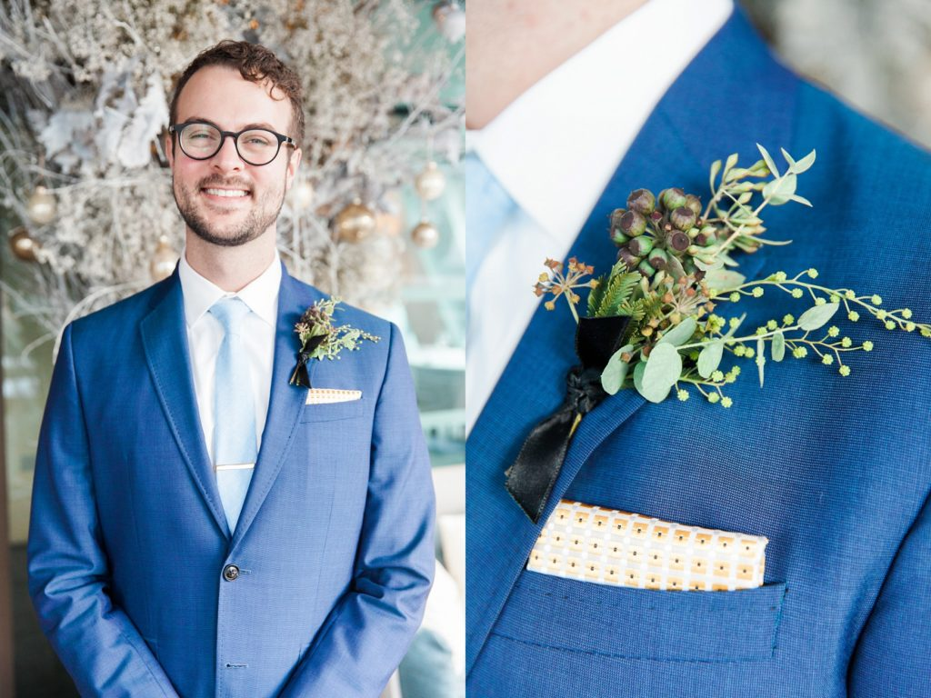 Portrait of a groom and his buttonhole on the morning of his South Place Hotel wedding