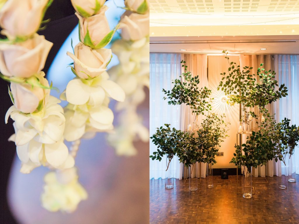 Mixed culture wedding ceremony decor with greenery and candles at South Place Hotel