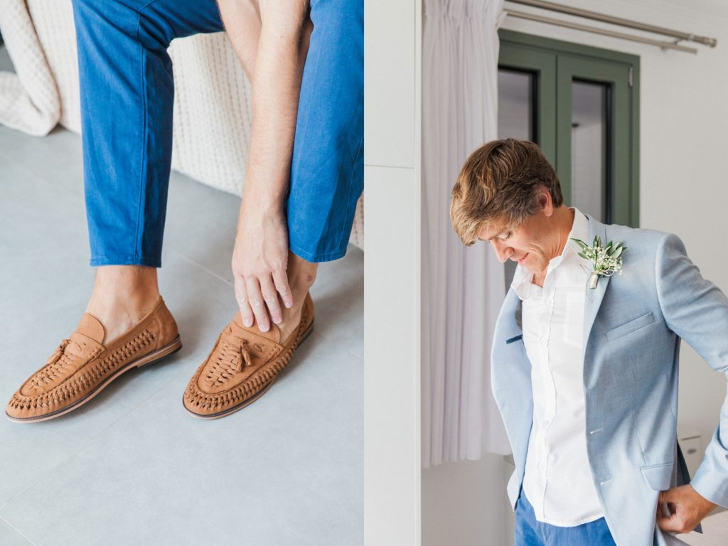 Groom getting ready for his destination elopement in Greece
