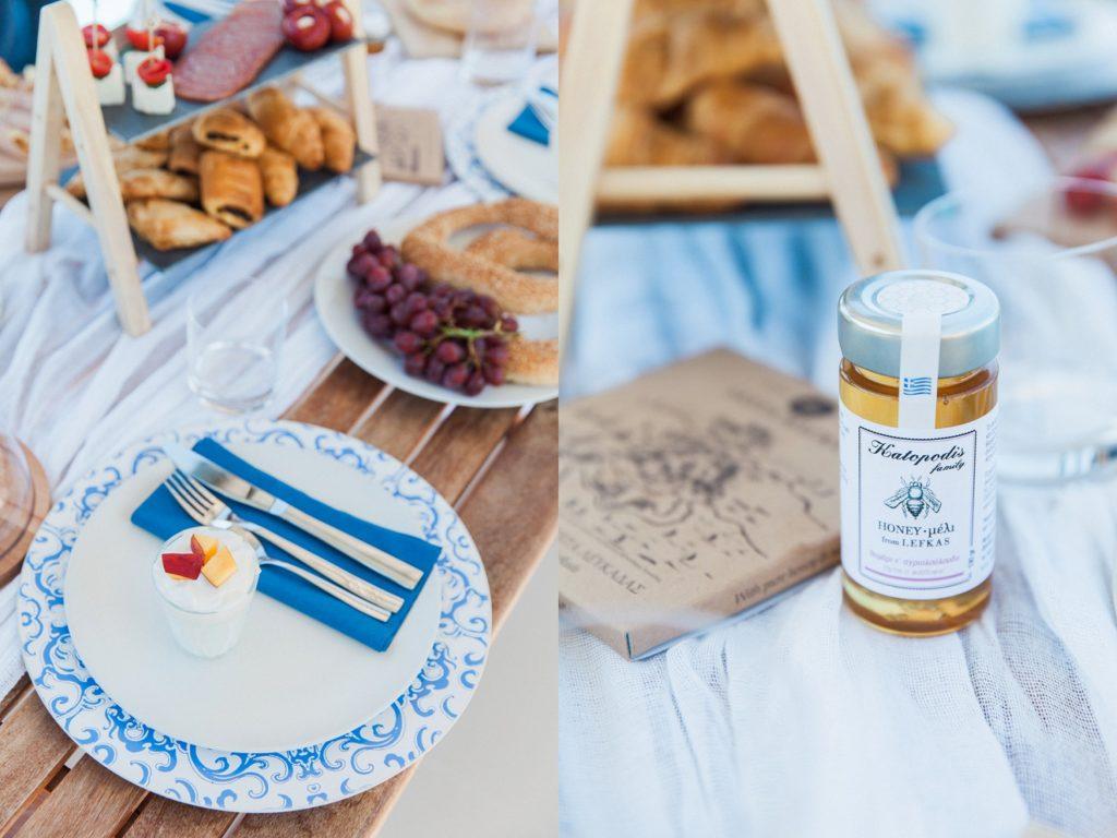 Picnic style wedding breakfast with Greek yoghurt, honey and fruit