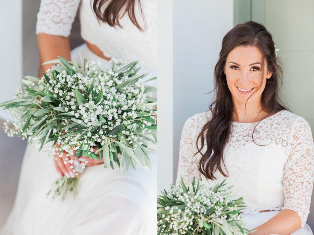 Close up of the brides olive bouquet and a bridal portrait