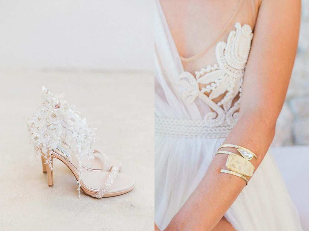 Katerina Savrani wedding shoes and a gold and stone arm cuff worn by the bride