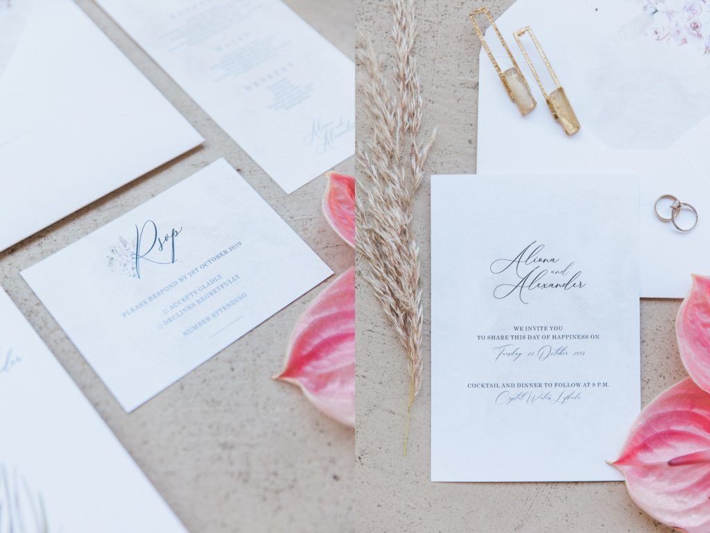 Boho wedding stationery by Ink Drops with floral and jewellery included
