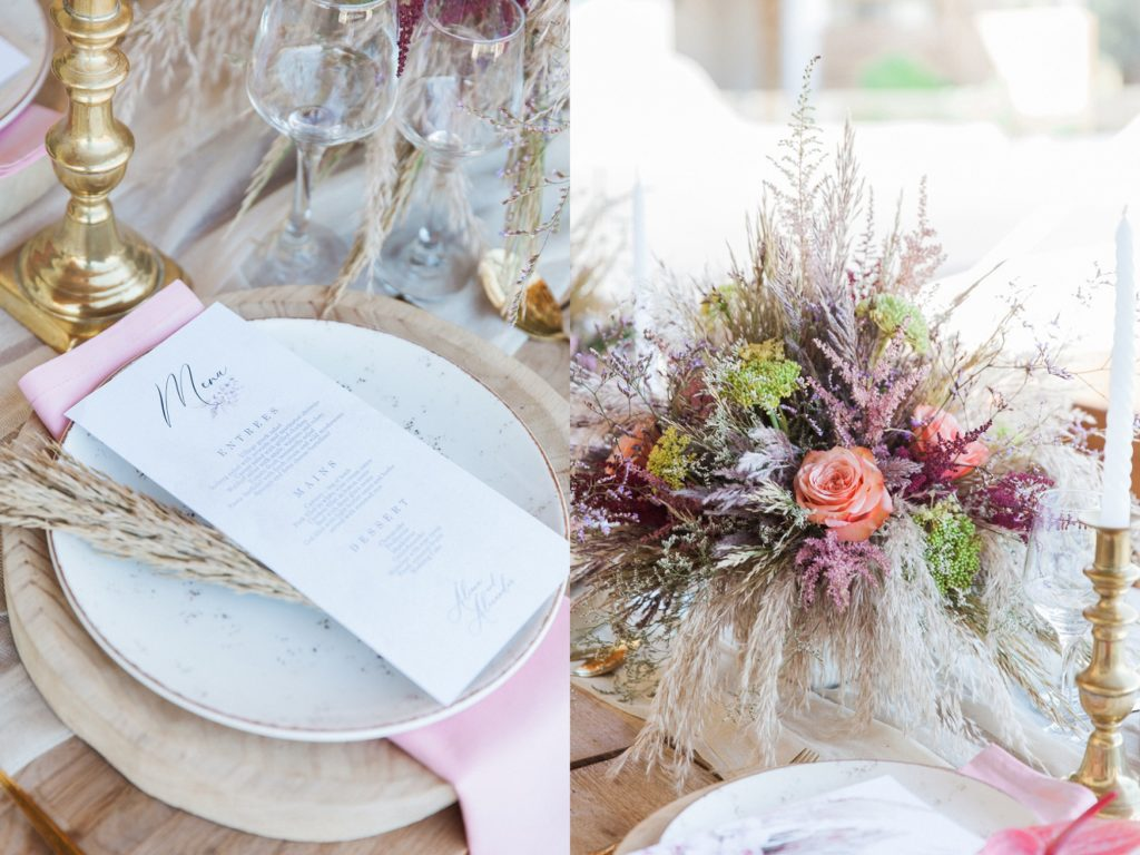 Boho wedding table decoration at Crystal Waters Lefkada