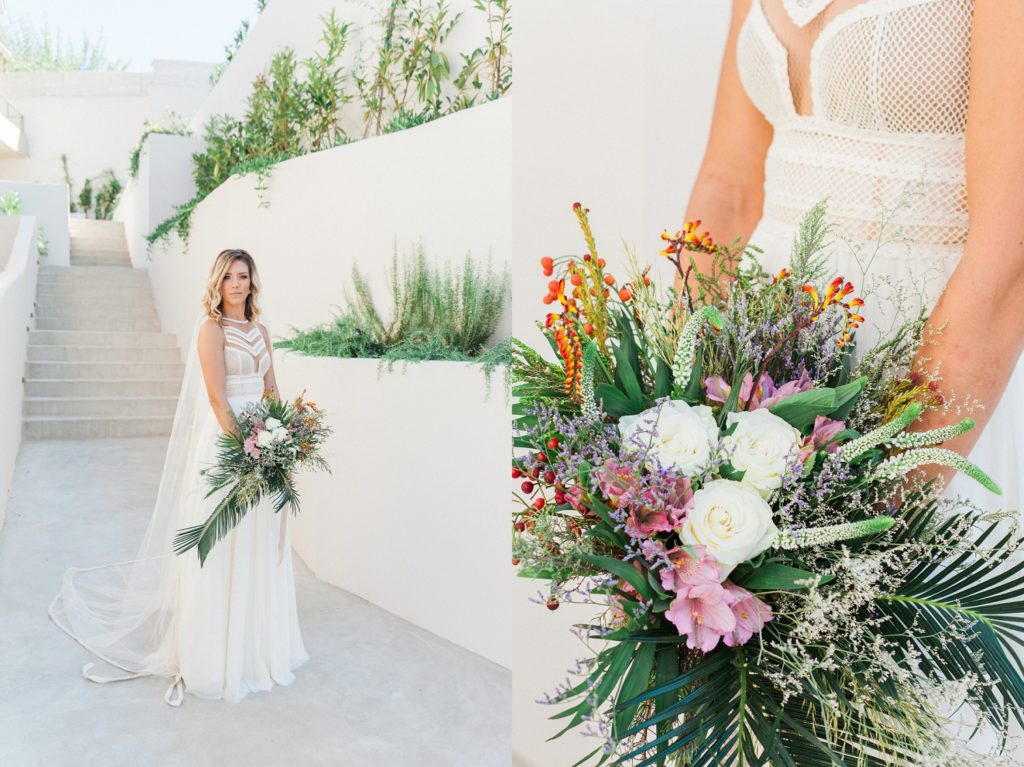 Boho wedding bouquet and a bride in an Atelier Zolotas wedding dress at Crystal Waters Lefkada