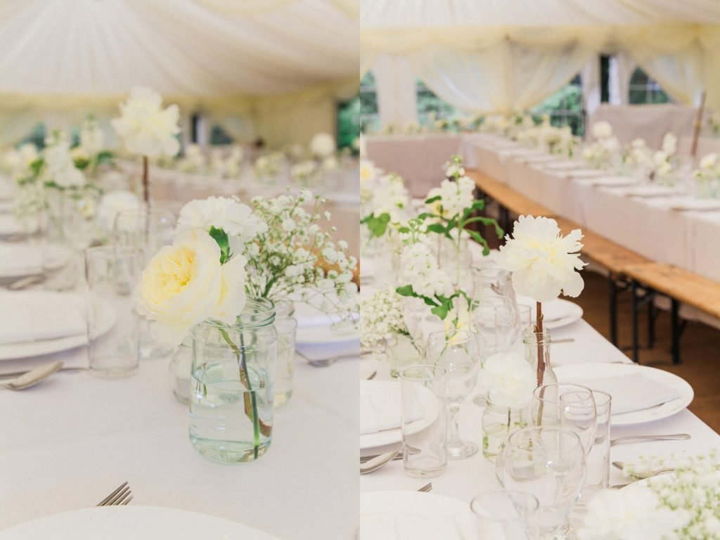 White decor at a marquee garden wedding in Leicestershire
