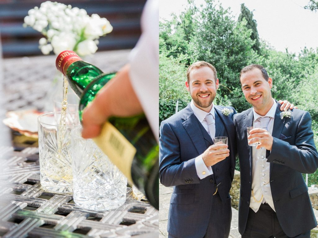 Groom and his brother enjoy a whiskey on the morning of his English garden wedding