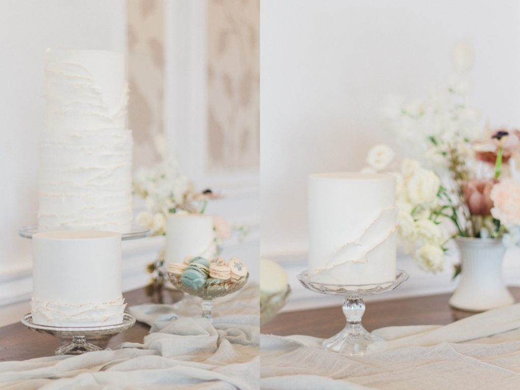 Beatrix Potter inspired cake table with elegant white cakes by Anna Lewis Cakse