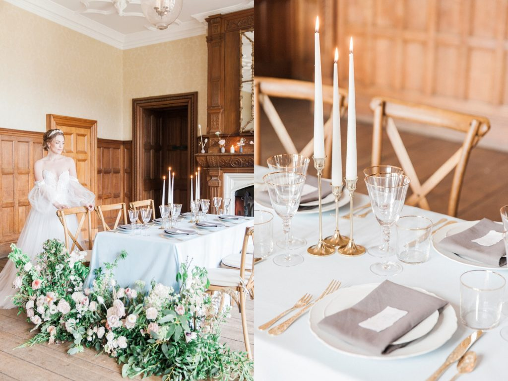 Bride stands next to her pastel wedding table inspired by Beatrix Potter