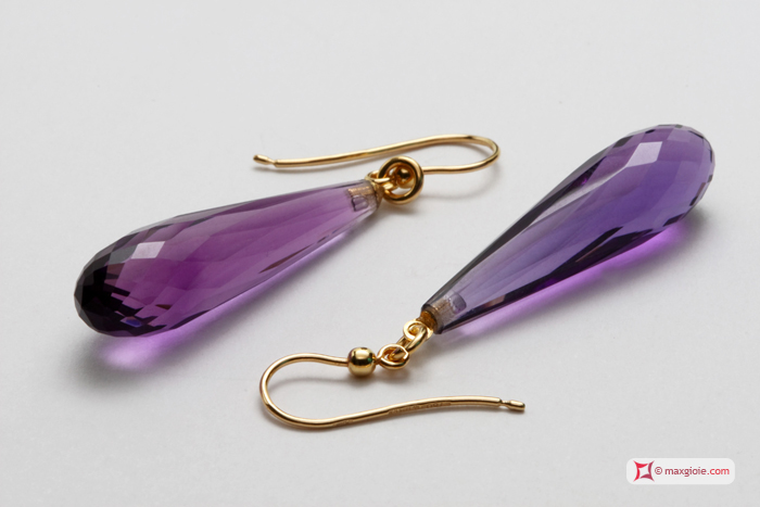 Extra Amethyst Earrings 8x30mm faceted in Gold 18K