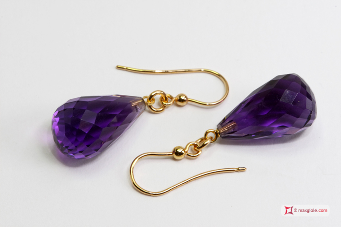 Extra Amethyst Earrings 10x17mm faceted in Gold 18K