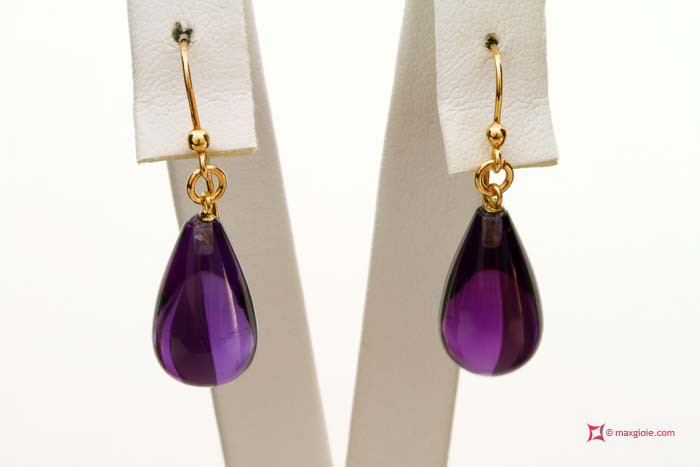 Extra Amethyst Earrings 10x17m in Gold 18K