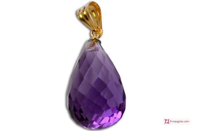 Extra Amethyst Pendant 10x17mm faceted in Gold 18K