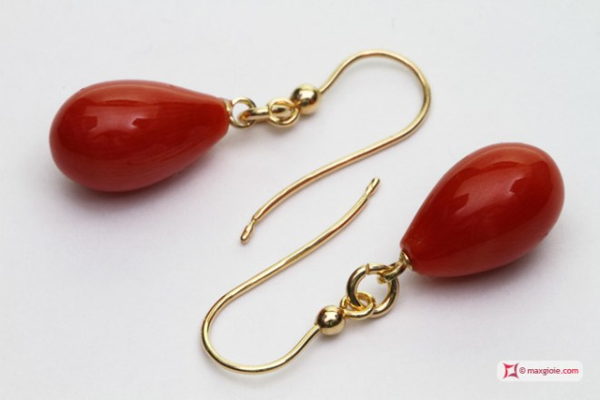 Extra Red Coral Earrings poire 8x13mm in Gold 18K