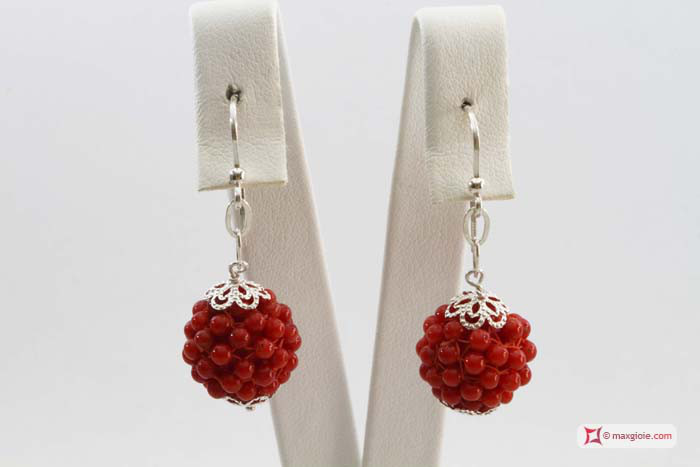 Extra Red Coral Earrings 5½-6mm weaved 2-2½mm round in Silver