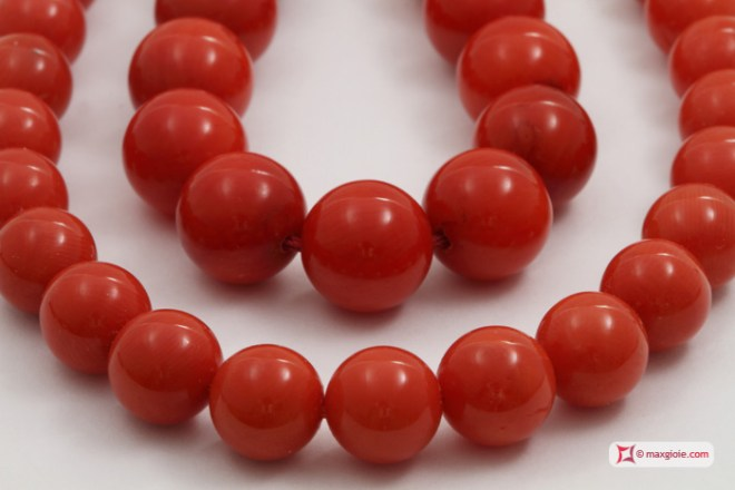 Mediterranean 100% Natural Red Coral Necklace compared with Bamboo Coral red color treated Necklace