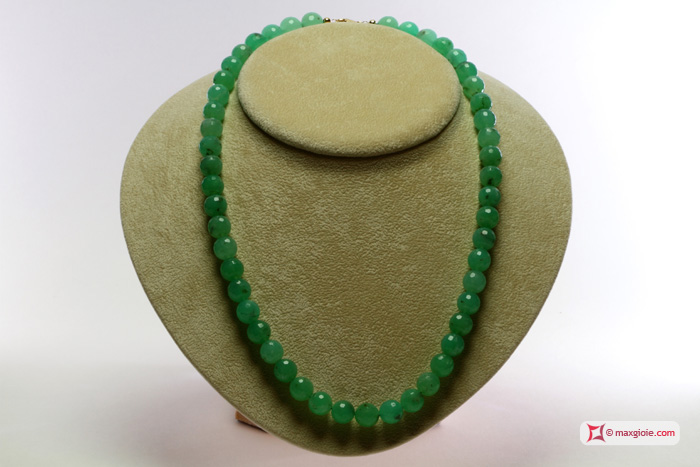 Chrysoprase Necklace TOP 10mm round in Gold 18K