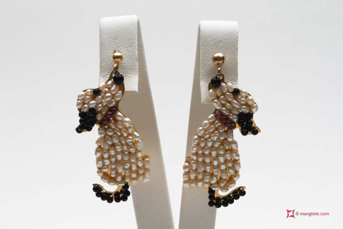 Dog Earrings [Pearls, Onyx, Garnet] in Gold Plated Silver