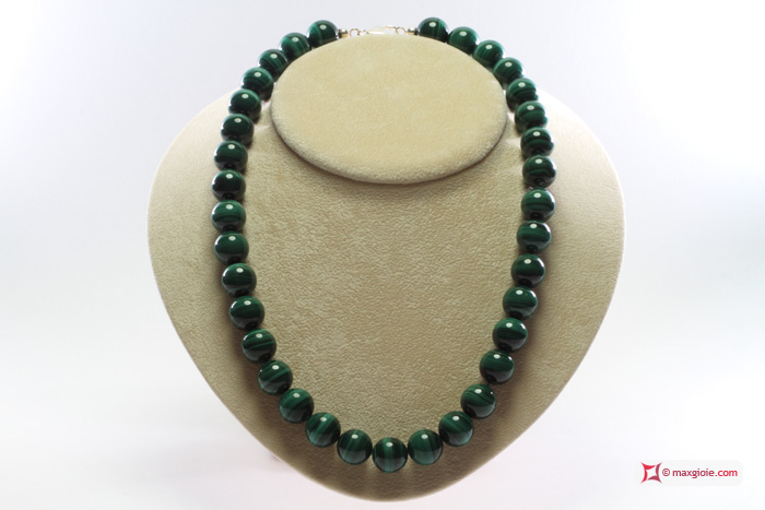 Extra Malachite Necklace 14mm round in Silver