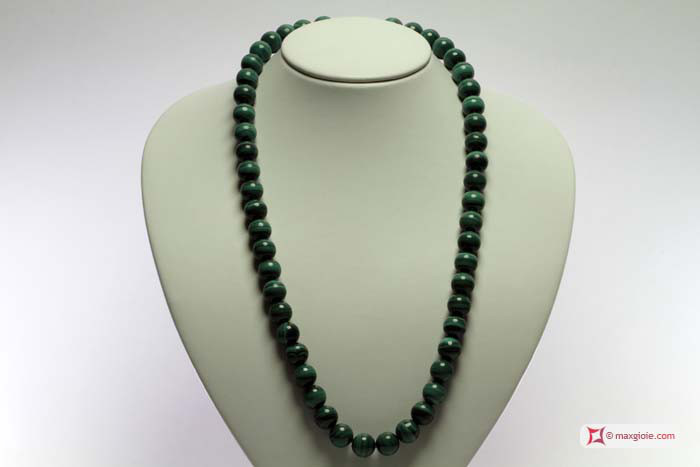 Extra Malachite Necklace 12mm round in Silver