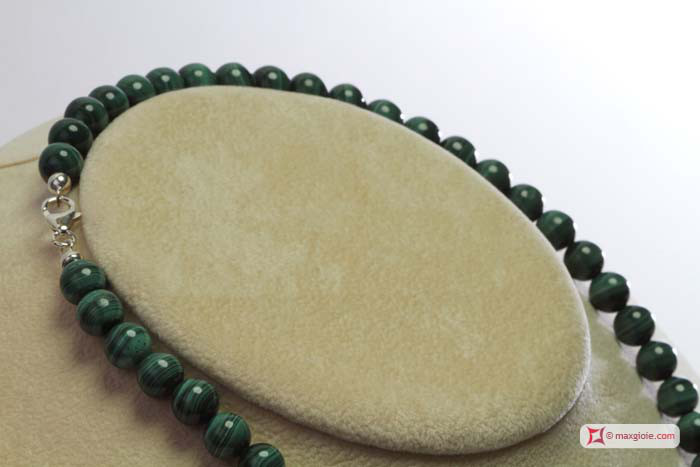 Extra Malachite Necklace 8mm round in Gold