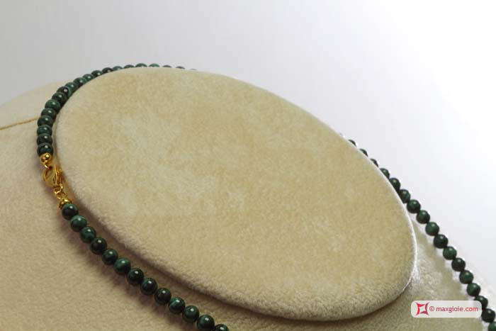 Extra Malachite Necklace 4mm round in Gold