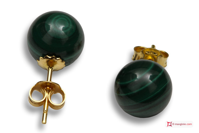 Extra Malachite Earrings 8mm in Yellow Gold 18K