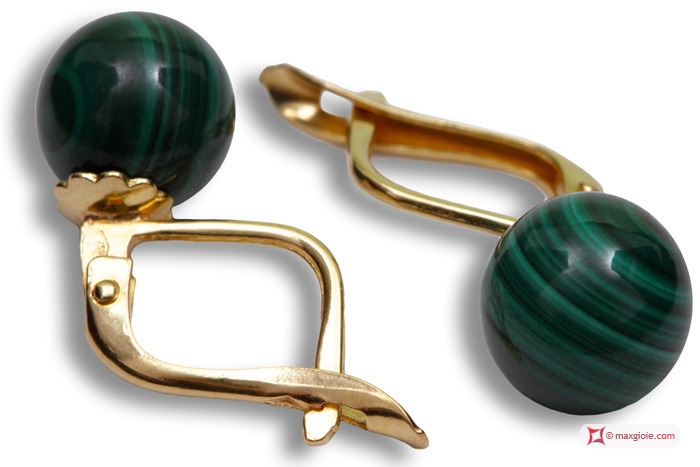 Extra Malachite Earrings 8mm in Yellow Gold 18K m