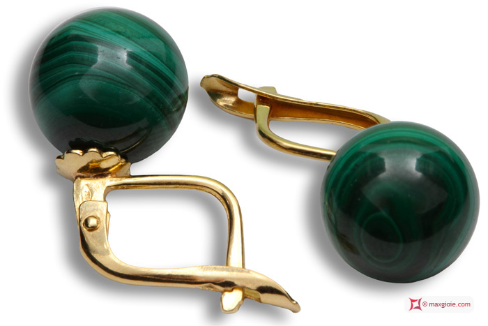 Extra Malachite Earrings 10mm in Yellow Gold 18K m