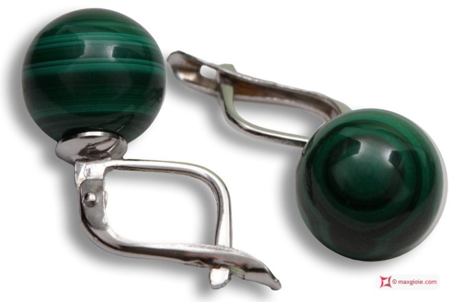 Extra Malachite Earrings 10mm in White Gold 18K m