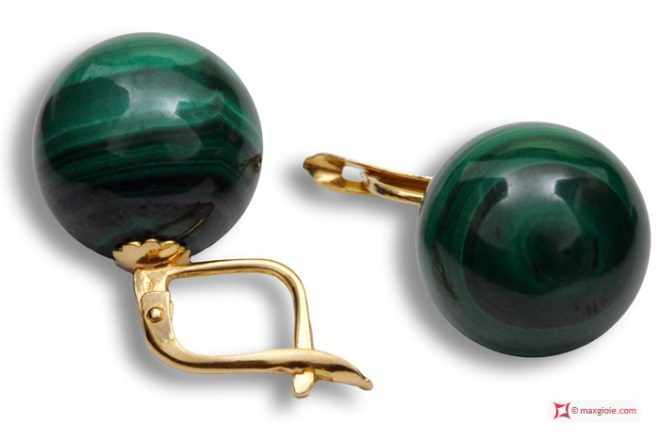 Extra Malachite Earrings 14mm in Gold 18K m