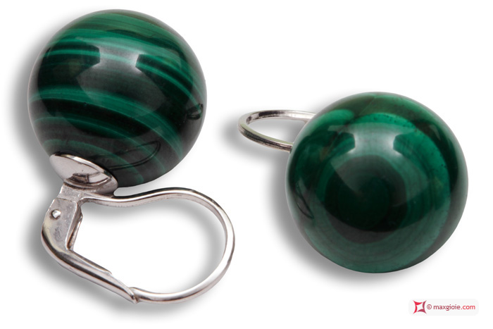 Extra Malachite Earrings 14mm in White Gold 18K mmp