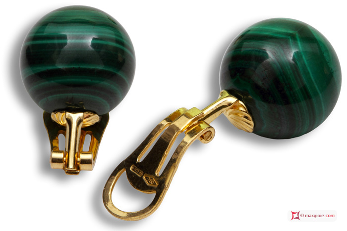 Extra Malachite Earrings 14mm in Gold 18K clip