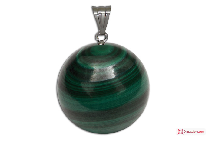 Extra Malachite Pendant 10mm in Gold 18K