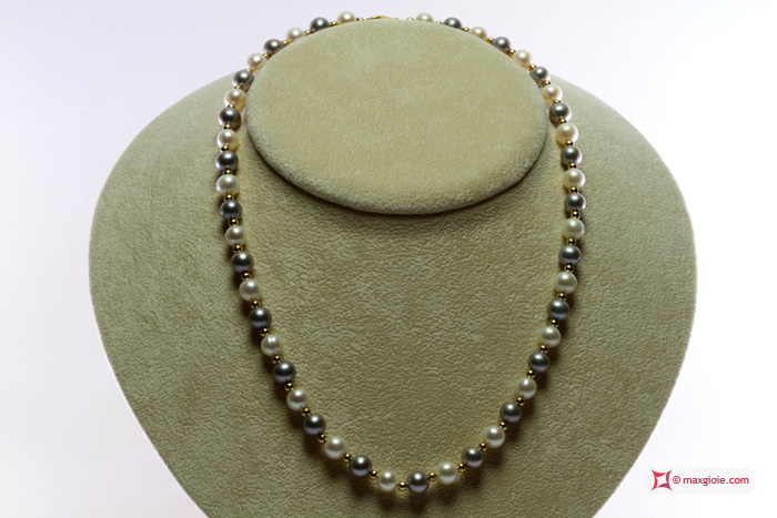 Pearl Necklace white and silver gray TOP gold dots 7-7½mm in Gold 18K