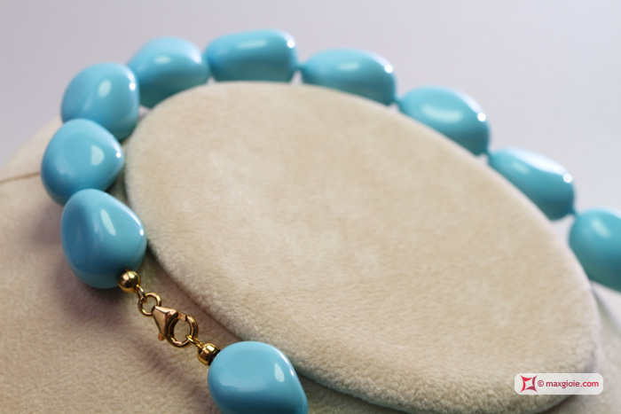 Extra Turquoise Necklace 15x20mm small stones in Gold 18K