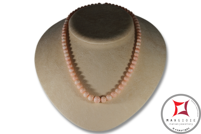 Collana Corallo rosa pelle d'angelo Extra pallini 6-10mm in Oro 18K Extra Pink Coral Angel Skin Necklace round beads 6-10mm in Gold 18K